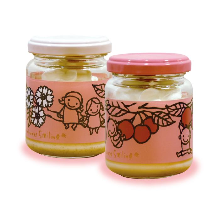 さくらプリン「奈良八重桜」「さくらんぼ」各420円(税別)