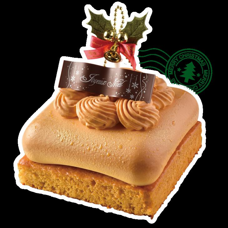 木津川市・+Marsh Mallow(マシュマロウ)。人気のムースケーキ3種が クリスマス限定サイズで登場! スイーツ男子も通う注目店からは、甘さひかえめで味はしっかり、食べ応え満点のキャラメルバナナ。バナナケーキにたっぷり濃厚バニラとキャラメルムース、中に詰まったバナナの食感を楽しんで。他に抹茶、レアチーズタイプの定番3種から選べる。