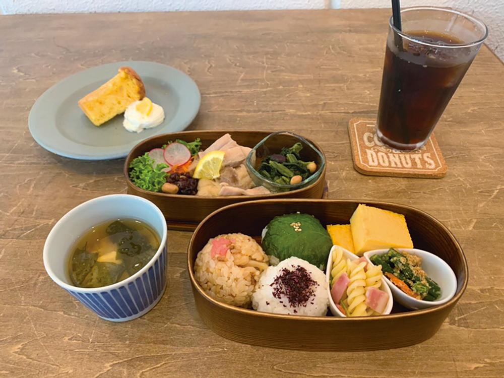 メリメロ・お弁当ランチ(選べるおかず2種、シフォンケーキとドリンク付)
